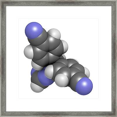 Letrozole Breast Cancer Drug Molecule Framed Print by Molekuul