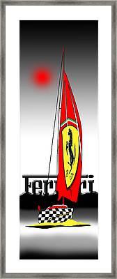 Lets Go Sailing With Ferrari Framed Print by Peter Stevenson