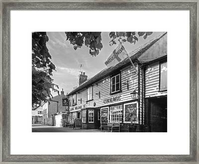 Let's Meet For A Beer - King William Iv Pub - Black And White Framed Print