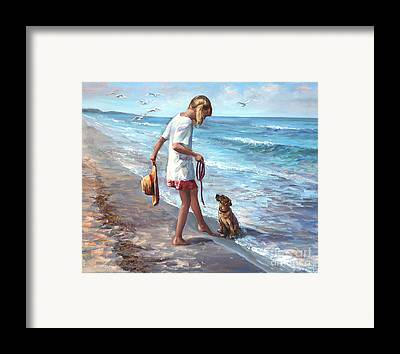 Dogs On Beach Framed Prints