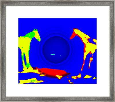 Lets Play With That Ball, One Horse Said To The Other  Framed Print by Hilde Widerberg