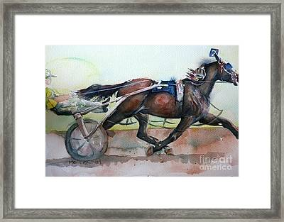 Racehorse Painting In Watercolor Let's Roll Framed Print by Maria's Watercolor