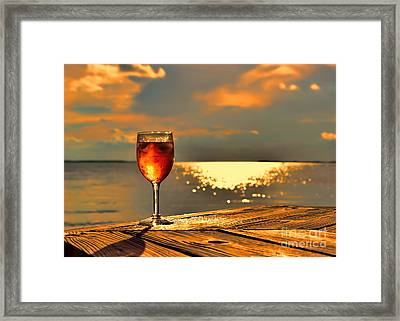 Let's Share A Glass Of Sunset Framed Print by Olga Hamilton