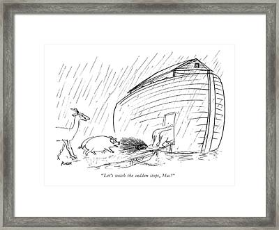 Let's Watch The Sudden Stops Framed Print by Frank Modell