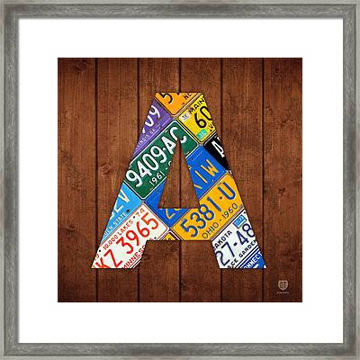 Letter A Alphabet Vintage License Plate Art Framed Print by Design Turnpike
