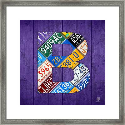Letter B Alphabet Vintage License Plate Art Framed Print