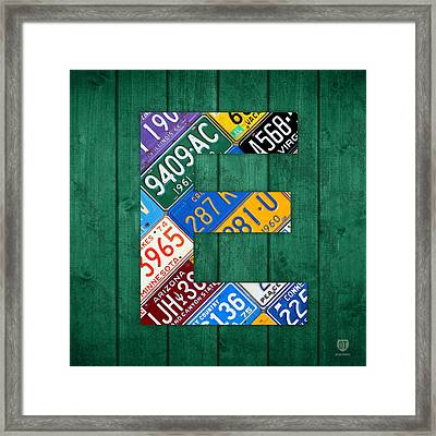 Letter E Alphabet Vintage License Plate Art Framed Print by Design Turnpike