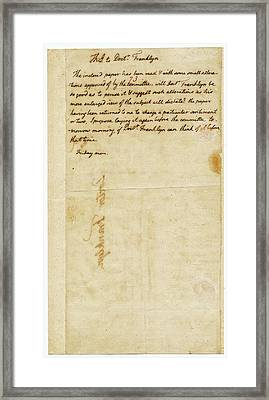 Letter From Jefferson To Franklin Framed Print by American Philosophical Society