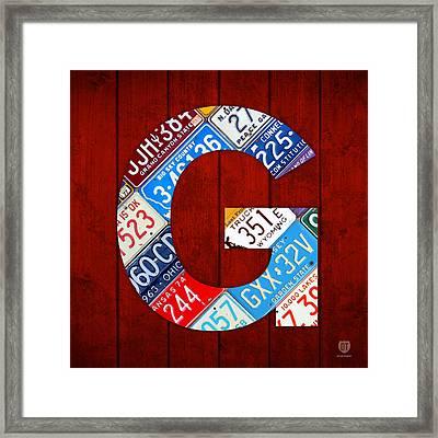 Letter G Alphabet Vintage License Plate Art Framed Print