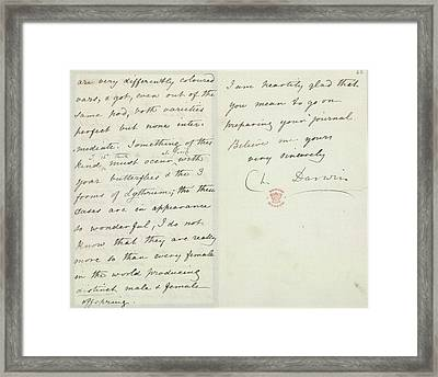 Letter Of Charles Darwin Framed Print by British Library