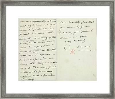 Letter Of Charles Darwin Framed Print