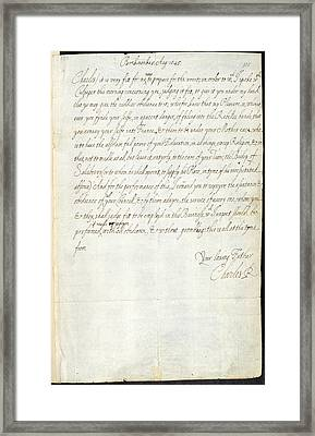 Letter Of Charles I Framed Print by British Library
