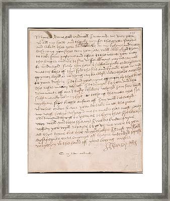 Letter Of Henry Viii Framed Print by British Library