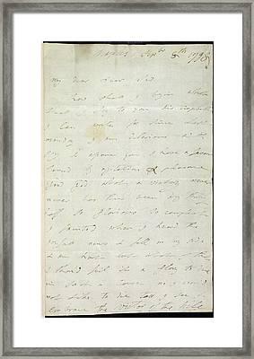Letter Of Lady Hamilton Framed Print