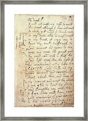 Letter Of Oliver Cromwell Framed Print by British Library