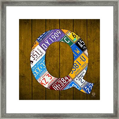 Letter Q Alphabet Vintage License Plate Art Framed Print