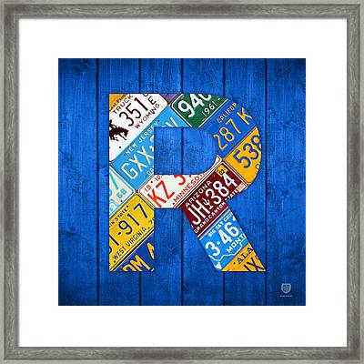 Letter R Alphabet Vintage License Plate Art Framed Print by Design Turnpike