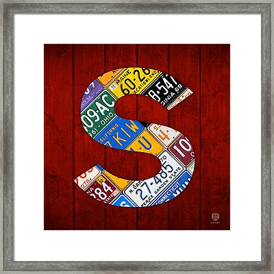 Letter S Alphabet Vintage License Plate Art Framed Print