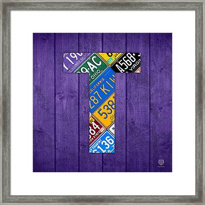 Letter T Alphabet Vintage License Plate Art Framed Print by Design Turnpike