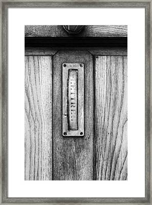 Letterbox In Mono Framed Print