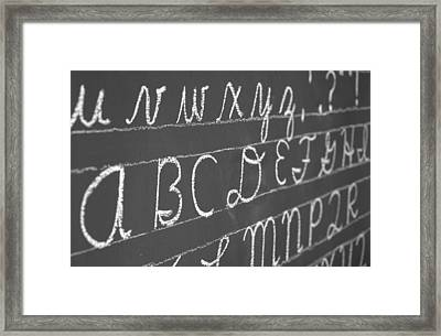 Letters On A Chalkboard Framed Print