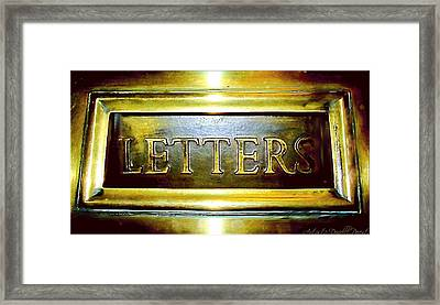 Letters Trough The Door Framed Print by Danielle  Parent