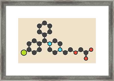 Levocetirizine Antihistamine Molecule Framed Print by Molekuul
