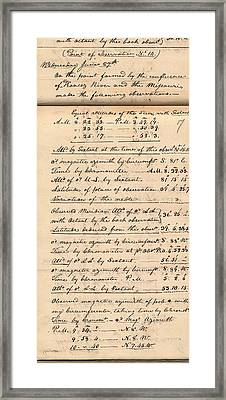 Lewis And Clark Expedition Diary Framed Print by American Philosophical Society