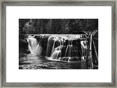 Lewis River Lower Falls Black And White Framed Print