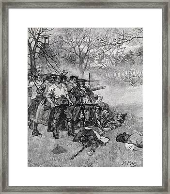 Lexington Green - If They Want War, It May As Well Begin Here, Engraved By F.h. Wellington Framed Print by Howard Pyle
