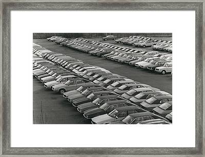 Leyland Cars Stockpiled As Sales Slump Framed Print by Retro Images Archive