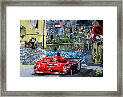 Alfa Romeo 33tt12 Nino Vaccarella.targa Florio 1975 Framed Print by Jose Mendez