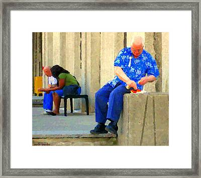 L'homme Orange Quiet Corner On St Catherine Street Downtown Montreal City Scene Carole Spandau Framed Print by Carole Spandau