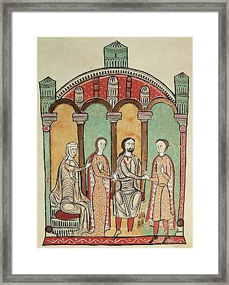 Liber Feudorum Marriage Scene Anon, Spanish School 12th Century Framed Print