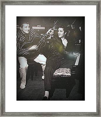 Liberace And Elvis Framed Print