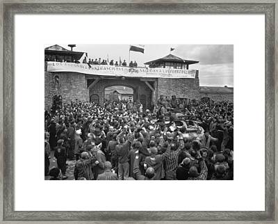 Liberated Prisoners In The Mauthausen Framed Print