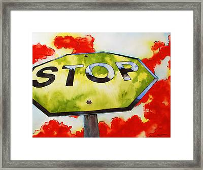 Liberating Stop Sign Framed Print by Zuzana Vass