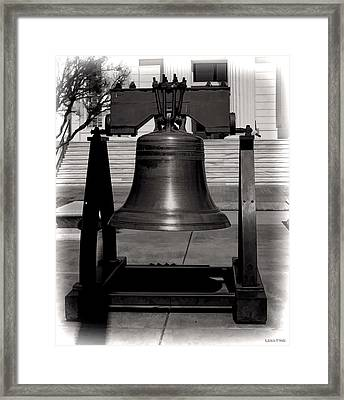 Liberty Bell Alabama State Capital Building Bw  Framed Print by Lesa Fine