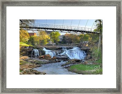 Liberty Bridge And The Falls In Downtown Greenville Sc Framed Print