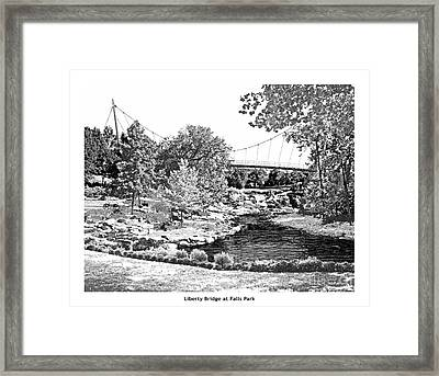 Liberty Bridge At Falls Park - Architectural Rendering Framed Print by A Wells Artworks