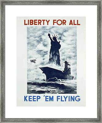 Framed Print featuring the photograph Liberty For All by american Classic Art