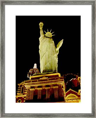 Liberty In Las Vegas Framed Print by Mieczyslaw Rudek
