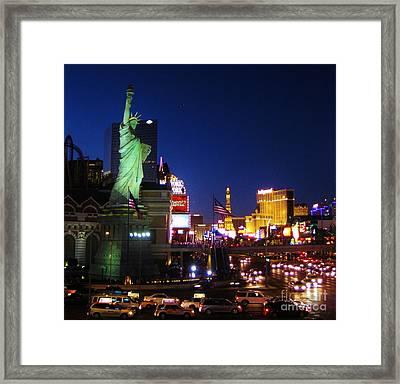 Liberty In Vegas Framed Print by John Malone