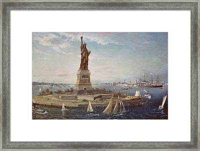 Liberty Island New York Harbor Framed Print by Fred Pansing