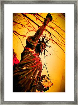 Bloodied Liberty Framed Print by Josh Brown