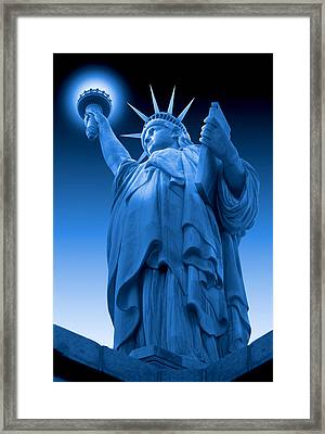 Liberty Shines On In Blue Framed Print by Mike McGlothlen