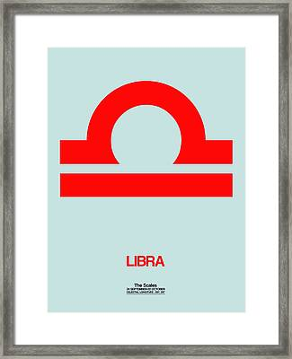 Libra Zodiac Sign Red Framed Print