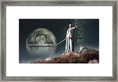 Libra Zodiac Symbol Framed Print by Daniel Eskridge