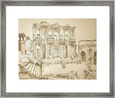 Framed Print featuring the painting Library At Ephesus II by Marilyn Zalatan