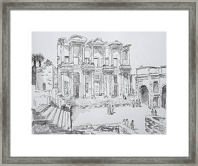Framed Print featuring the painting Library At Ephesus by Marilyn Zalatan